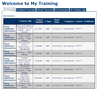 My Courses page